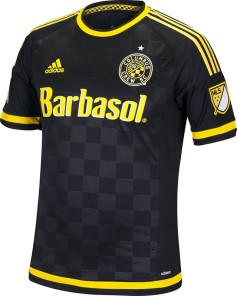 Image result for columbus crew black checkered jersey